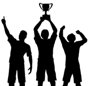 Silhouettes of three male athletes side by side, middle athlete holding winning cup above his head